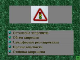 Остановка запрещена Обгон запрещен Светофорное регулирование Прочие опасност