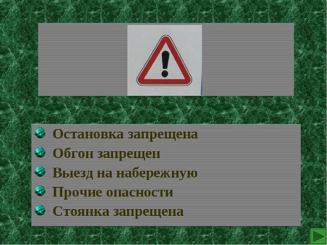 Остановка запрещена Обгон запрещен Выезд на набережную Прочие опасности Стоя...