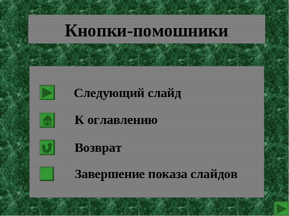 Кнопки-помошники Следующий слайд К оглавлению Возврат Завершение показа слайдов