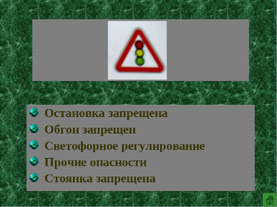 Остановка запрещена Обгон запрещен Светофорное регулирование Прочие опасност...