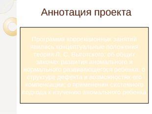 Аннотация проекта Программа коррекционных занятий явились концептуальные поло