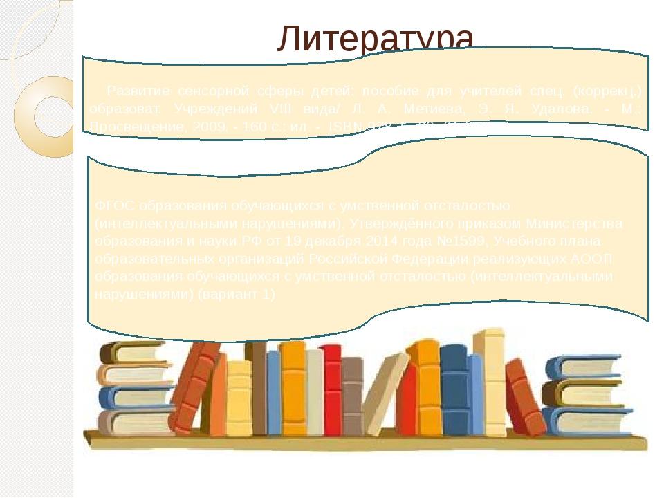 Литература Развитие сенсорной сферы детей: пособие для учителей спец. (коррек...