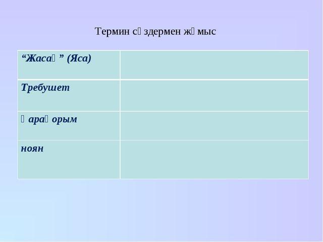 """Термин сөздермен жұмыс """"Жасақ"""" (Яса) Требушет Қарақорым ноян"""