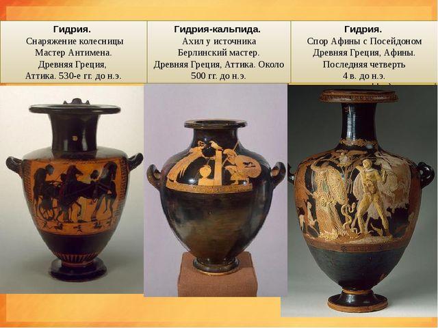 Гидрия(лат.Hydria ), иначе Кальпида (лат. - Kalpis) -сосуд для воды, им...