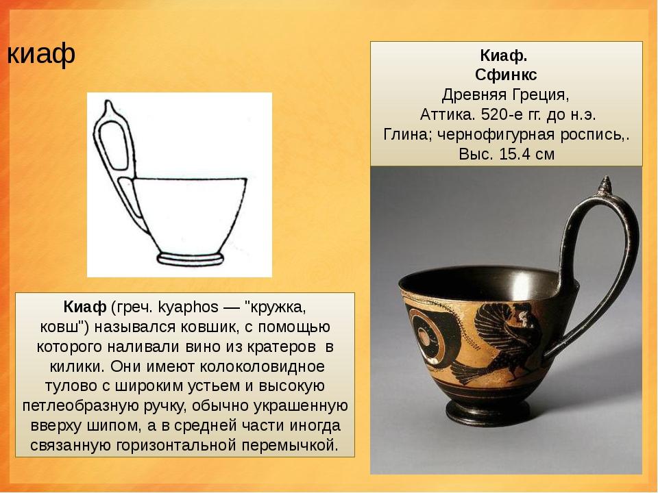 """киаф Киаф(греч. kyaphos — """"кружка, ковш"""")назывался ковшик, с помощью которо..."""