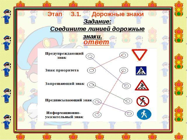 Этап 3.1. Дорожные знаки Задание: Соедините линией дорожные знаки. ответ