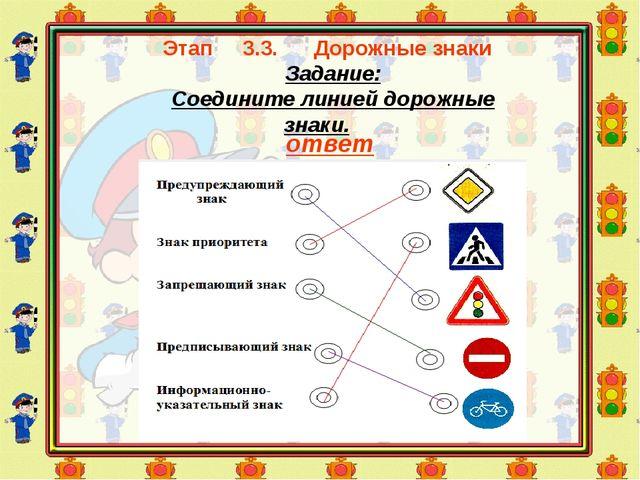 Этап 3.3. Дорожные знаки Задание: Соедините линией дорожные знаки. ответ