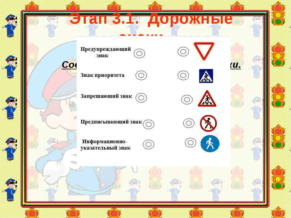 Этап 3.1. Дорожные знаки Задание: Соедините линией дорожные знаки.
