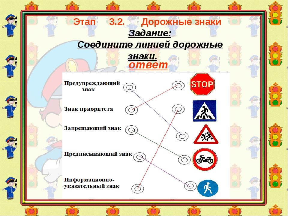 Этап 3.2. Дорожные знаки Задание: Соедините линией дорожные знаки. ответ