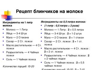 Ингредиенты на 1 литр молока Молоко—1Литр Яйца—3-4Штук Мука—2Стакана