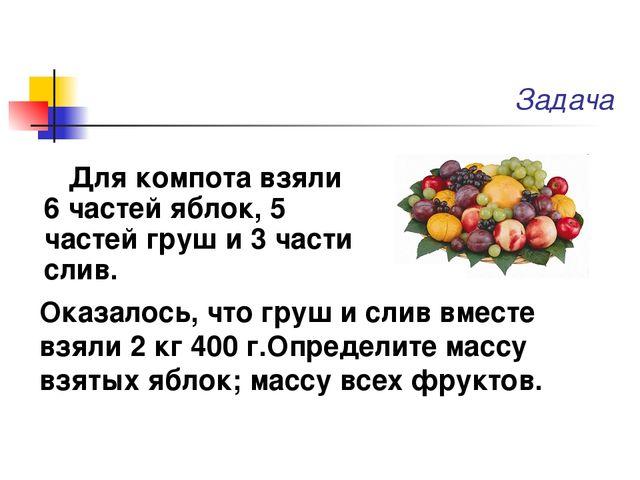 Для компота взяли 6 частей яблок, 5 частей груш и 3 части слив. Задача Оказал...