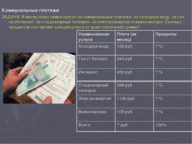 Коммунальные платежи ЗАДАЧА: В месяц наша семья тратит на коммунальные плате...