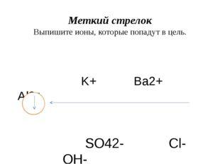 Меткий стрелок Выпишите ионы, которые попадут в цель. K+ Ba2+ Al3+ SO42- Cl-