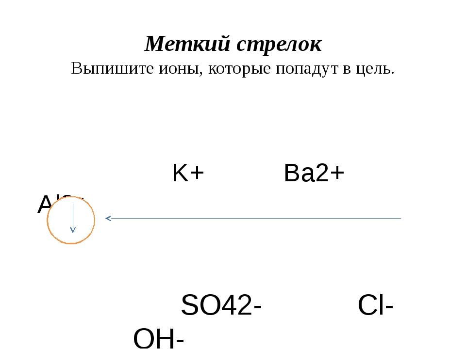 Меткий стрелок Выпишите ионы, которые попадут в цель. K+ Ba2+ Al3+ SO42- Cl-...