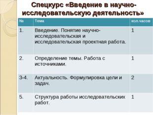 Спецкурс «Введение в научно-исследовательскую деятельность» №Темакол.часов