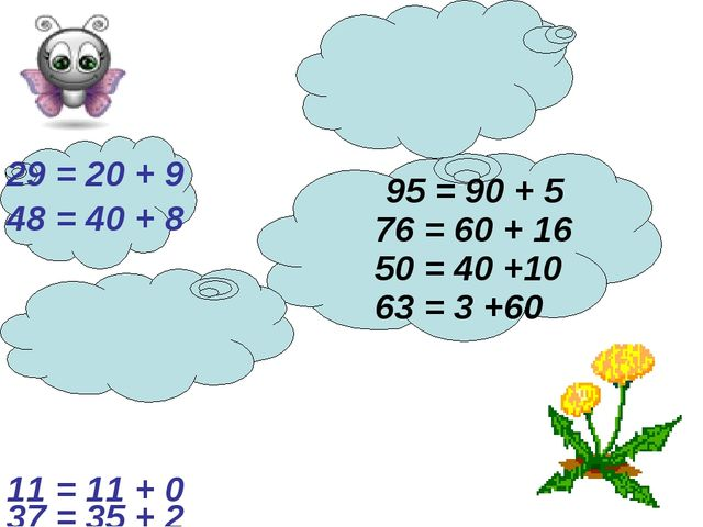 76 = 60 + 16 29 = 20 + 9 95 = 90 + 5 48 = 40 + 8 63 = 3 +60 50 = 40 +10 37 =...