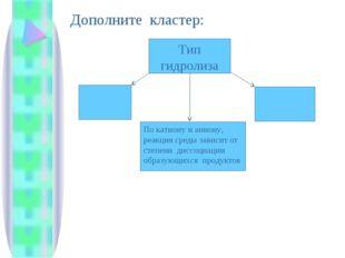 Тип гидролиза По катиону и аниону, реакция среды зависит от степени диссоциац