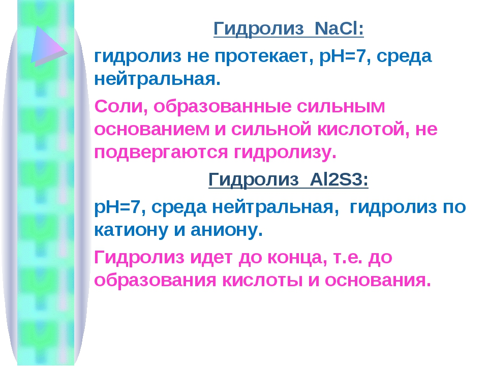 Гидролиз NaCl: гидролиз не протекает, рН=7, среда нейтральная. Соли, образова...