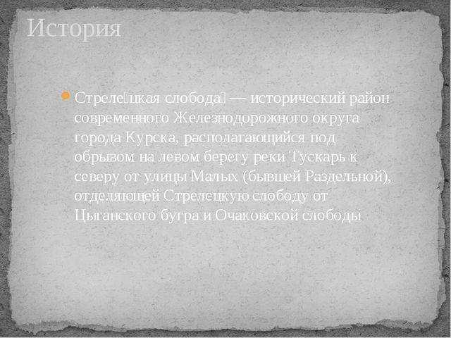 История Стреле́цкая слобода́ — исторический район современного Железнодорожно...