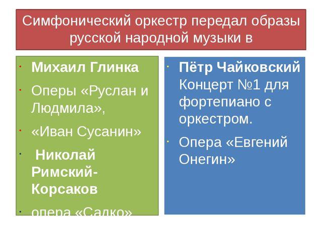 Симфонический оркестр передал образы русской народной музыки в произведениях...