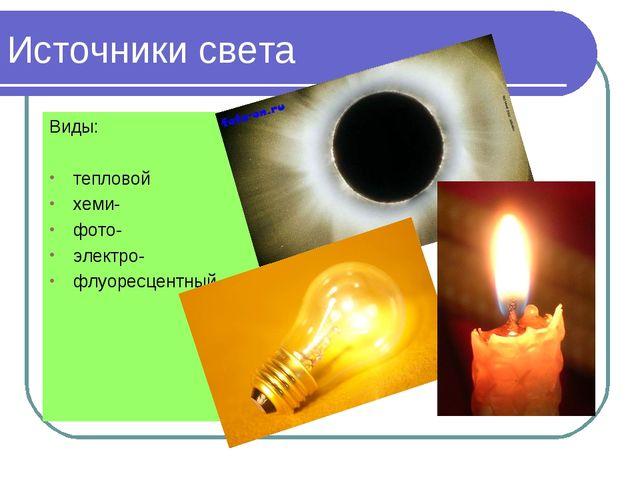 Виды: тепловой хеми- фото- электро- флуоресцентный Источники света