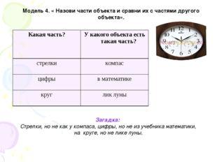 Модель 4. « Назови части объекта и сравни их с частями другого объекта». Зага