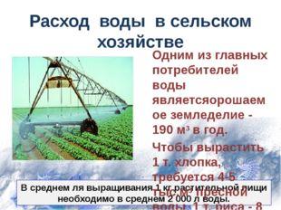 В среднем ля выращивания 1 кг растительной пищи необходимо в среднем 2 000 л