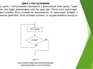 Цикл с постусловием Работа цикла с постусловием начинается с выполнения тела