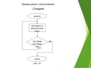 Пример цикла с постусловием: Стирка все вещи выстираны? выстирать и прополоск