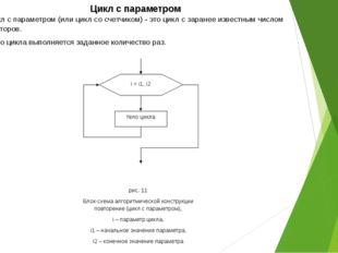 Цикл с параметром Цикл с параметром (или цикл со счетчиком) - это цикл с зара
