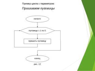 Пример цикла с параметром: Пришиваем пуговицы пуговицы с 1 по 5 пришить пугов