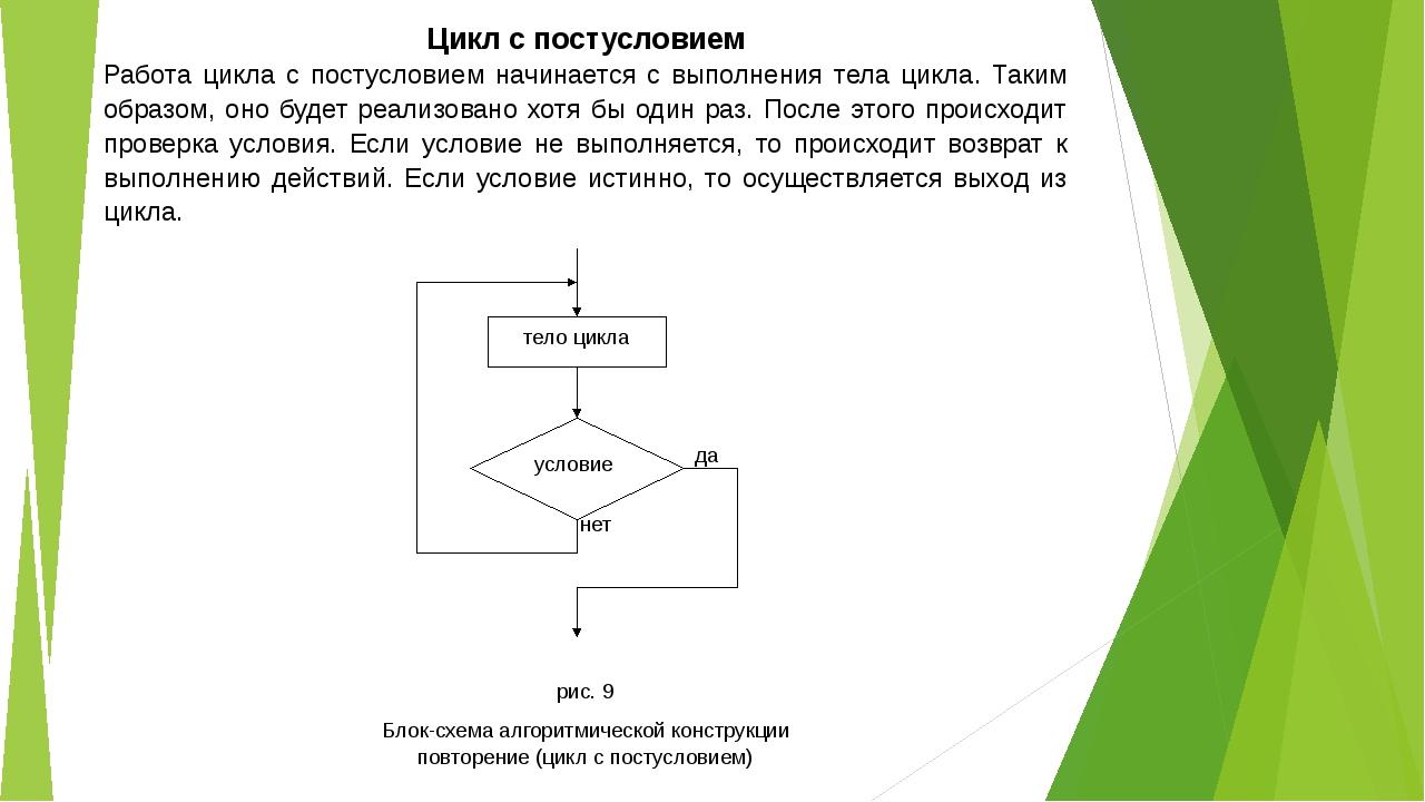 Цикл с постусловием Работа цикла с постусловием начинается с выполнения тела...