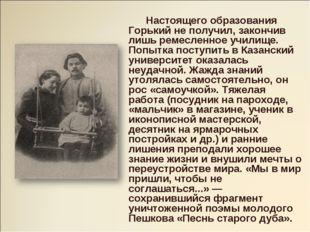 Настоящего образования Горький не получил, закончив лишь ремесленное училище