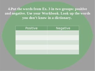 4.Put the words from Ex. 3 in two groups: positive and negative. Use your Wor