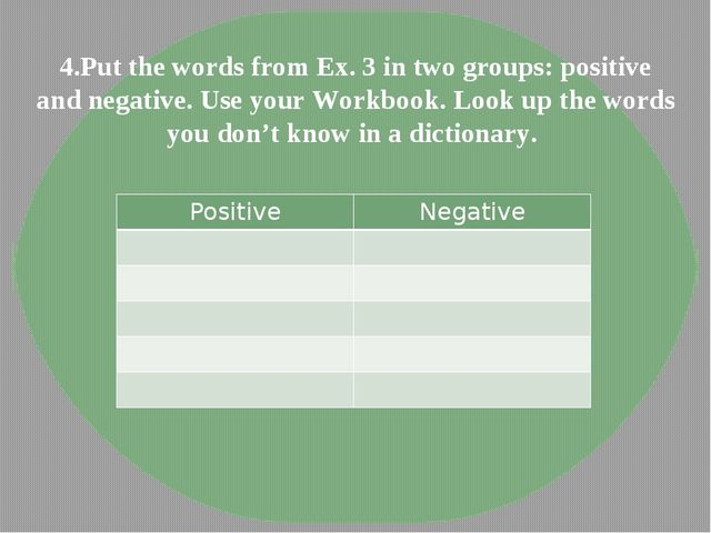 4.Put the words from Ex. 3 in two groups: positive and negative. Use your Wor...