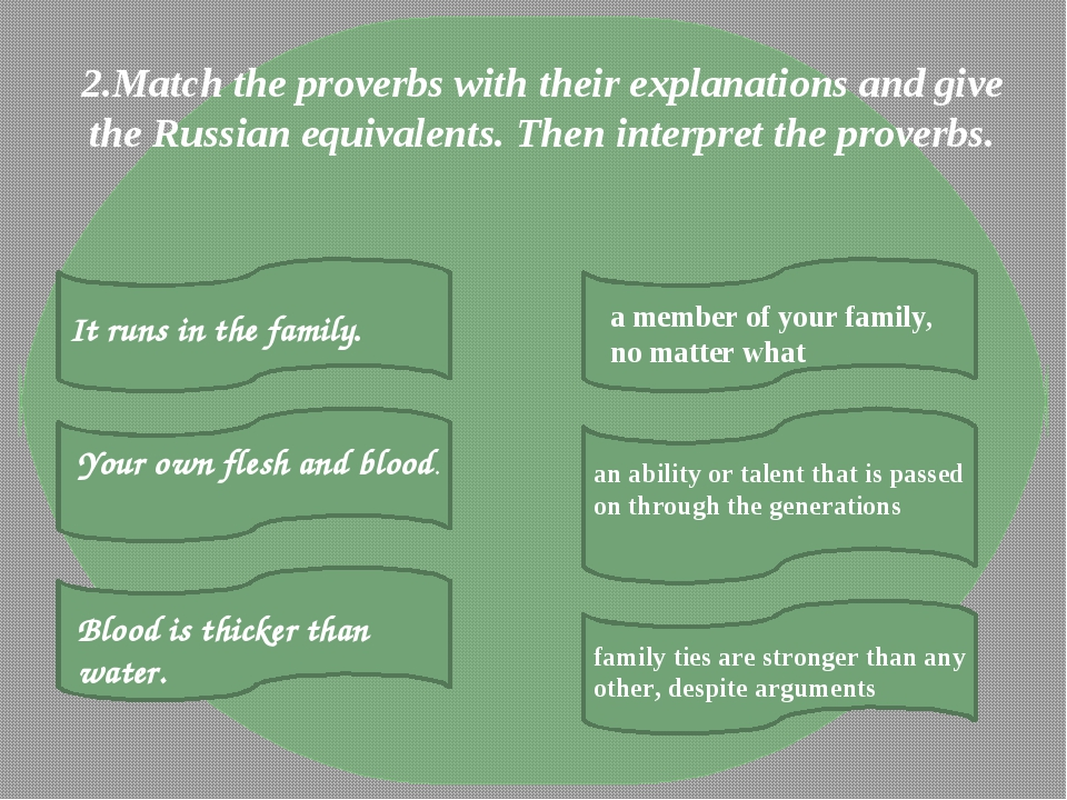2.Match the proverbs with their explanations and give the Russian equivalents...