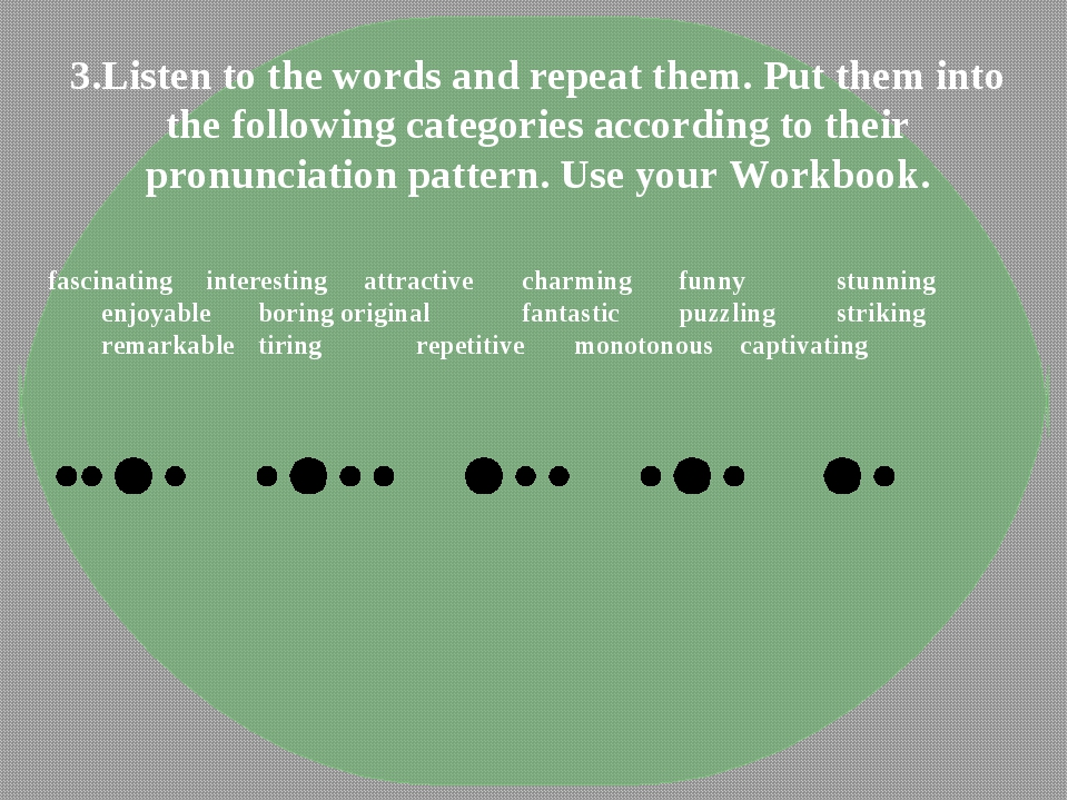 3.Listen to the words and repeat them. Put them into the following categories...