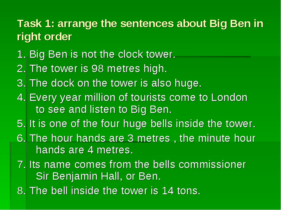 Task 1: arrange the sentences about Big Ben in right order 1. Big Ben is not...