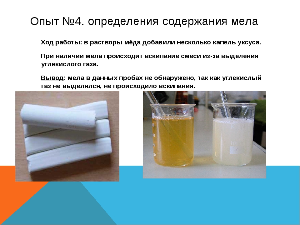 Опыт №4.определения содержания мела Ход работы: в растворы мёда добавили не...