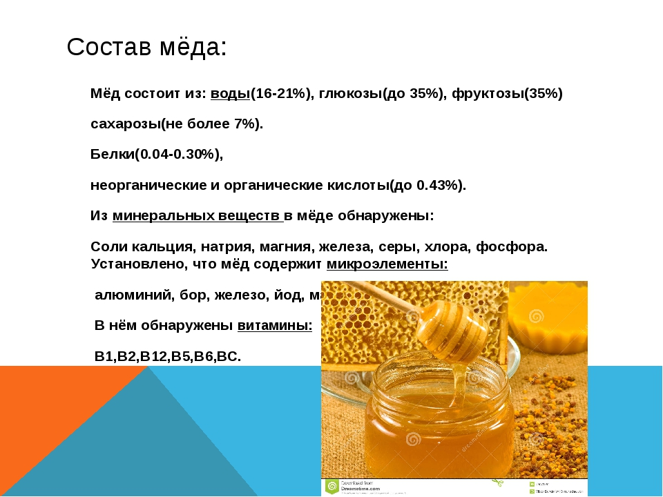 Состав мёда: Мёд состоит из: воды(16-21%), глюкозы(до 35%), фруктозы(35%) сах...