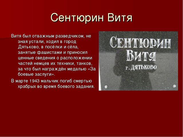 Сентюрин Витя Витя был отважным разведчиком, не зная устали, ходил в город Дя...