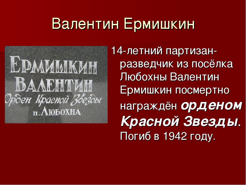Валентин Ермишкин 14-летний партизан-разведчик из посёлка Любохны Валентин Ер...