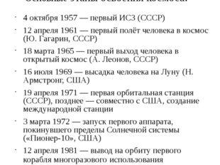 Основные этапы освоения космоса: 4 октября 1957 — первый ИСЗ (СССР) 12 апреля
