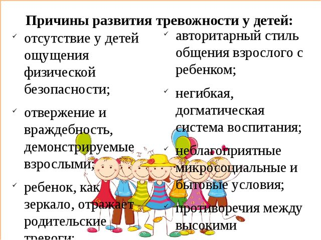 Причины развития тревожности у детей: отсутствие у детей ощущения физической...