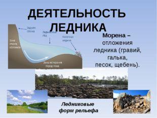 ДЕЯТЕЛЬНОСТЬ ЛЕДНИКА Морена – отложения ледника (гравий, галька, песок, щебен