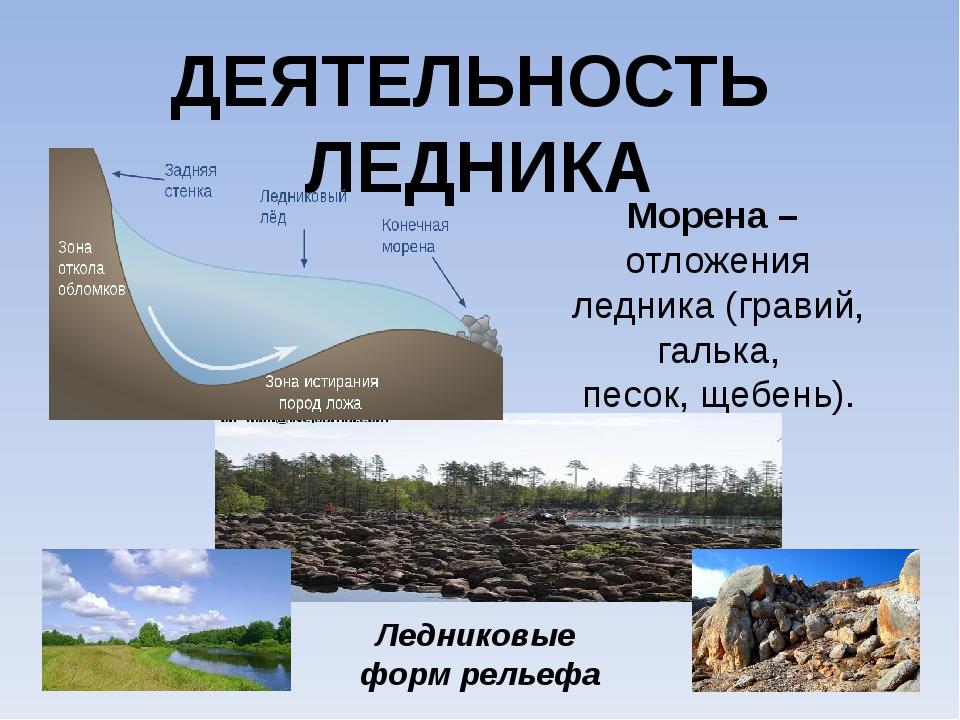 ДЕЯТЕЛЬНОСТЬ ЛЕДНИКА Морена – отложения ледника (гравий, галька, песок, щебен...