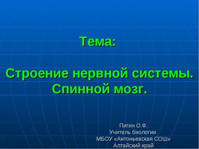 Тема: Строение нервной системы. Спинной мозг. Пигин О.Ф. Учитель биологии МБО...