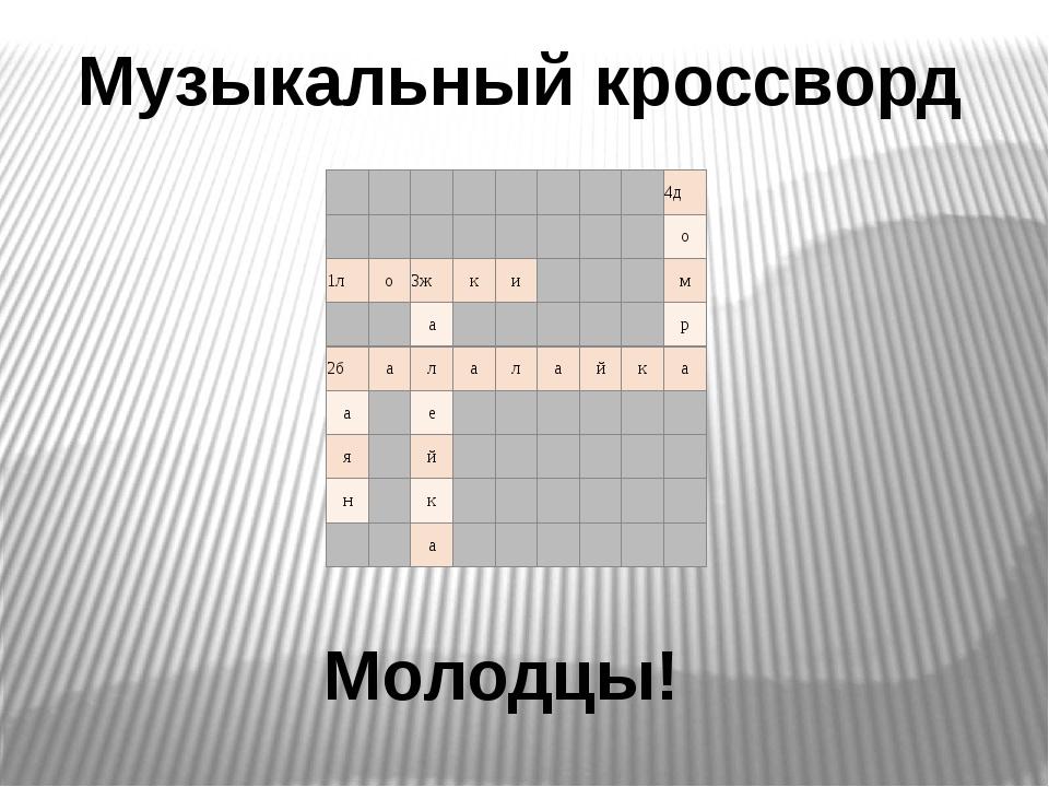 Музыкальный кроссворд Молодцы!         4д         о 1л о 3ж к...