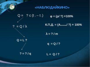«НАБЛЮДАЙКИНО» Q = ? с (t 2 – t 1) ? = Q / λ Q = L ? ? = ? / q φ = (ρ/ ?) ×10
