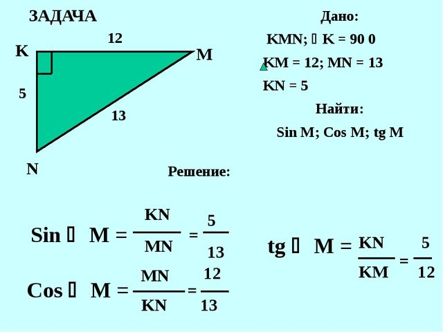 ЗАДАЧА K N M Дано: KMN; K = 90 0 KM = 12; MN = 13 KN = 5 Найти: Sin M; Cos M...